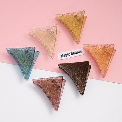 少女闪粉三角形发夹 抓夹中号成人半扎发发卡女 简约几何树脂卡子