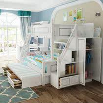 新款韩式高低床儿童床双层床上下床女孩公主床实木上下铺木床双。