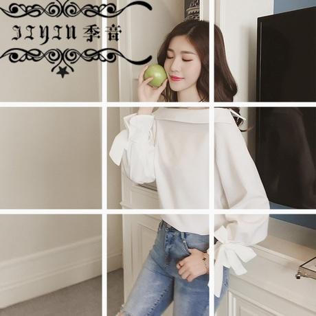 季音2019春季新款女装一字领白色雪纺衫衬衫女短款蝴蝶结长袖宽松商品大图