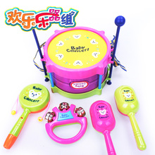 5件装 腰鼓沙锤小号手摇铃组合宝宝益智音乐玩具 欢乐乐器套装