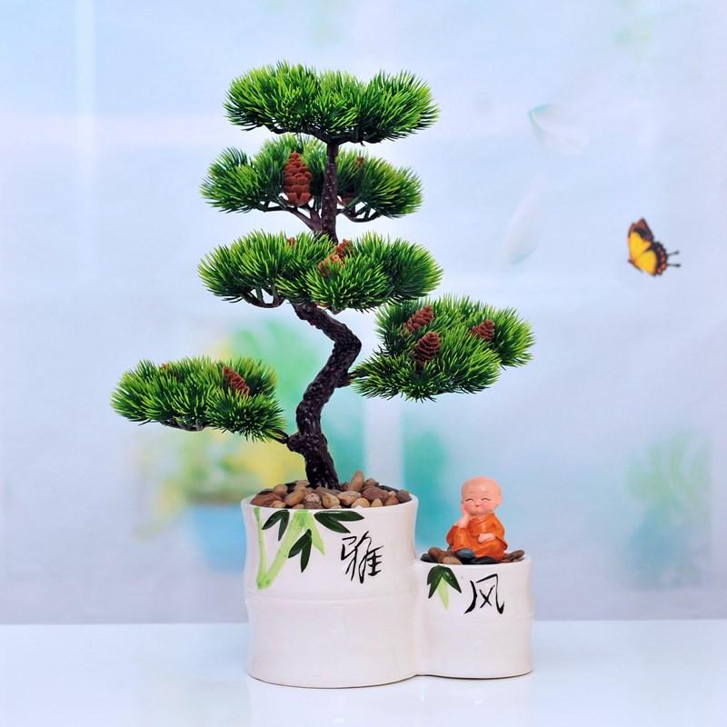 仿真迎客松盆景套装小松树盆栽花卉仿真花假树客厅餐桌家居装饰品