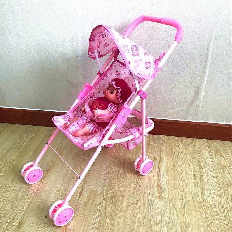 儿童婴儿手推车玩具带蓬女孩过家家带娃娃套装半躺小推车包邮