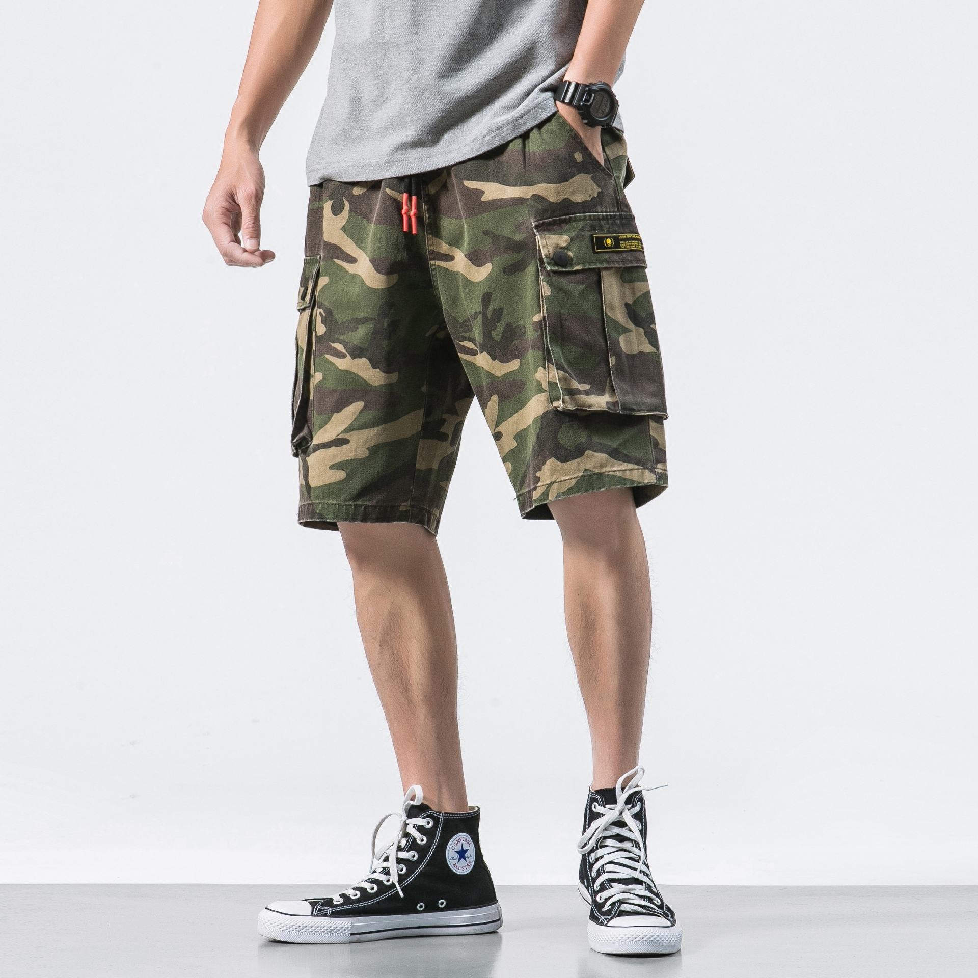 Men's Clothing Bright Shorts Mens Summer Korean Version Of The Trend Yu Wenle Tooling Casual Five Pants Loose Tide Brand Student Sports Pants