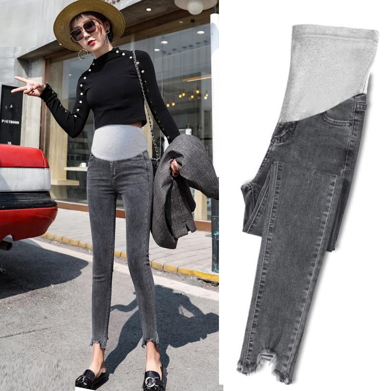 孕妇裤子牛仔裤秋冬款外穿时尚黑色小脚矮个子冬季加绒加厚冬天