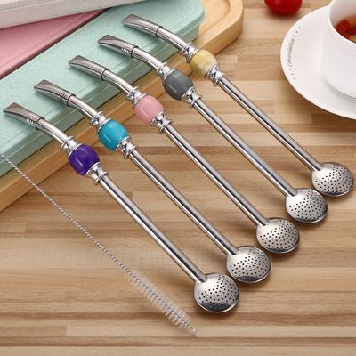 创意304不锈钢吸管勺子马黛茶过滤搅拌器情侣 出口咖啡勺果汁饮料