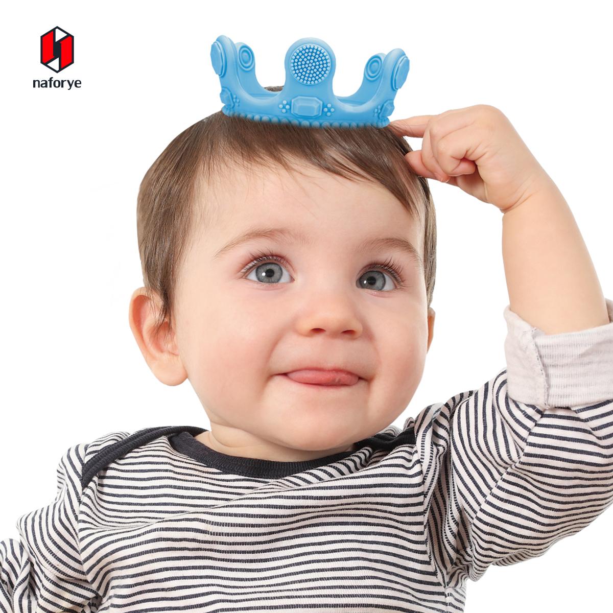 新品美国Naforye婴儿硅胶磨牙棒宝宝牙齿按摩器软玩具牙胶多色