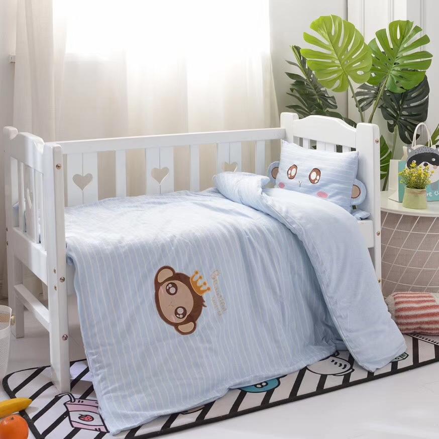 纯棉花儿童被子三件套婴儿床上用品六件套午睡含芯宝宝针织棉被套