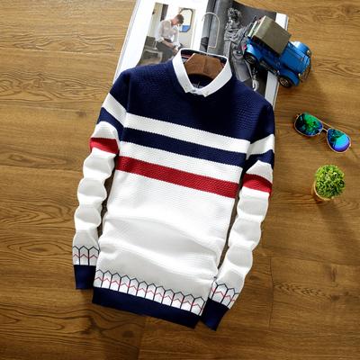 秋冬新款假两件毛衣男士打底针织衫 修身线衫 青少年套头带领男装