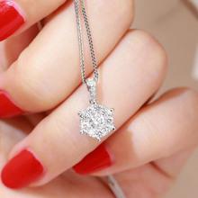 百圣珠宝钻石吊坠群镶一克拉效果锁骨链女款18K白金六爪钻石项链