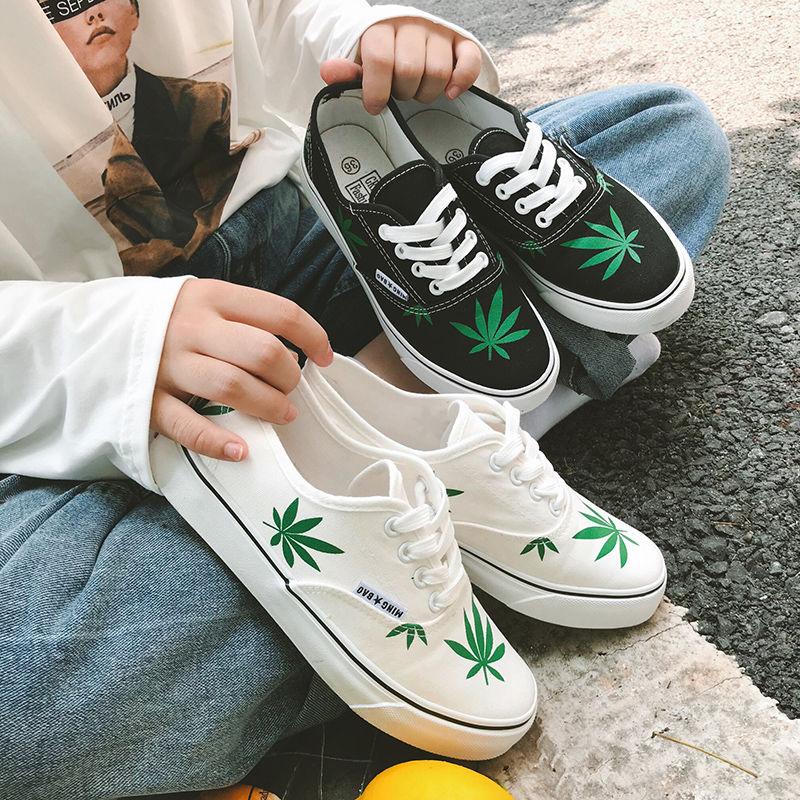 韩版文艺帆布鞋原宿风百搭麻叶鞋子女学生ulzzang板鞋港风小白鞋