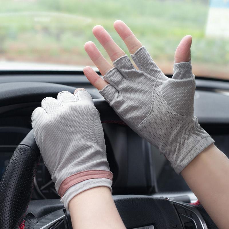 夏天半指防晒手套男士冰丝薄款司机开车防滑户外露指防紫外线短款