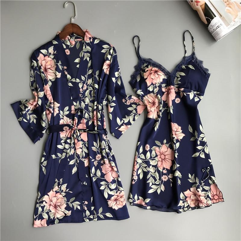 维密薇睡衣女夏套装碎花性感吊带睡袍两件套真丝睡裙带胸垫