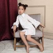 亲子装 中长款 白衬衫 女童港澳风衬衣裙中大儿童个性 秋季童装