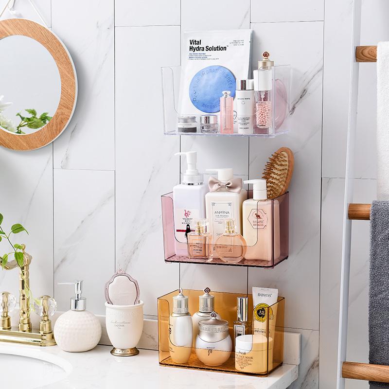 温庭卫生间浴室置物架化妆品储物收纳洗漱台免打孔厨房墙壁挂架子