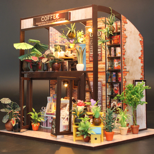 diy小屋情侣花房咖啡屋 手工拼装模型房送男女孩生日创意浪漫礼物