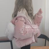 酱果自制加厚大毛领冬季新款羽绒棉连帽面包服棉衣外套大衣棉袄女