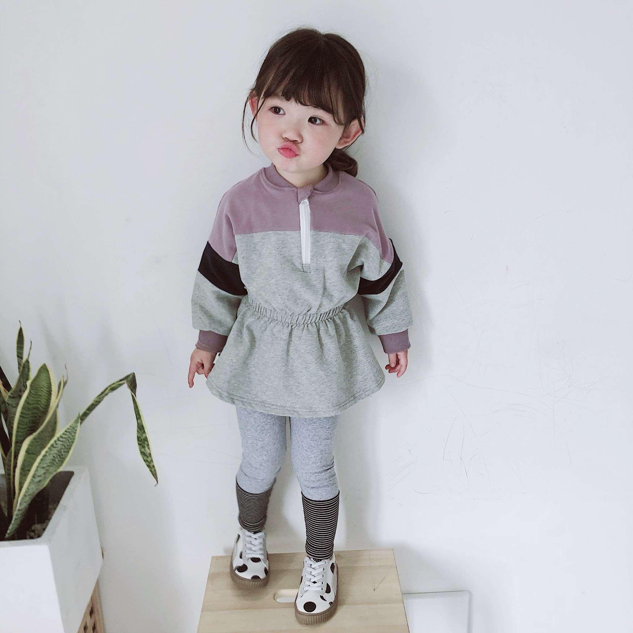 拼接卫衣裙2019年春夏2-7岁新款女童女宝宝洋气公主裙长袖连衣裙