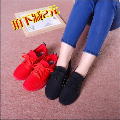 小红鞋秋冬款老北京布鞋 透气时尚平底休闲运动女鞋韩版潮鞋
