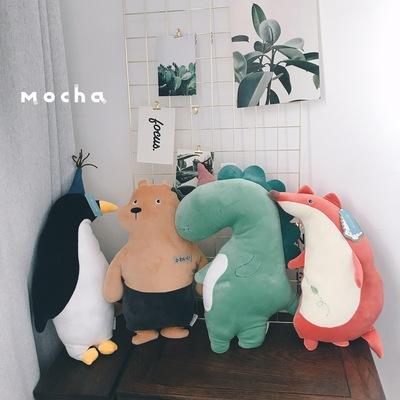 日本可爱超软鳄鱼狐狸小熊狗狗睡觉陪伴公仔公主抱毛绒玩偶娃娃