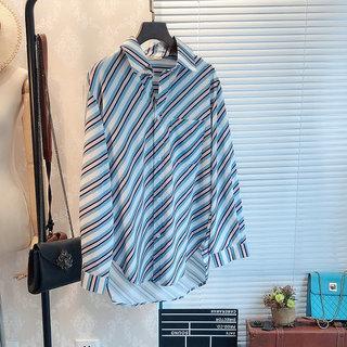 2019春季新品女装韩版百搭翻领显瘦彩色斜条纹长袖中长款衬衫上衣
