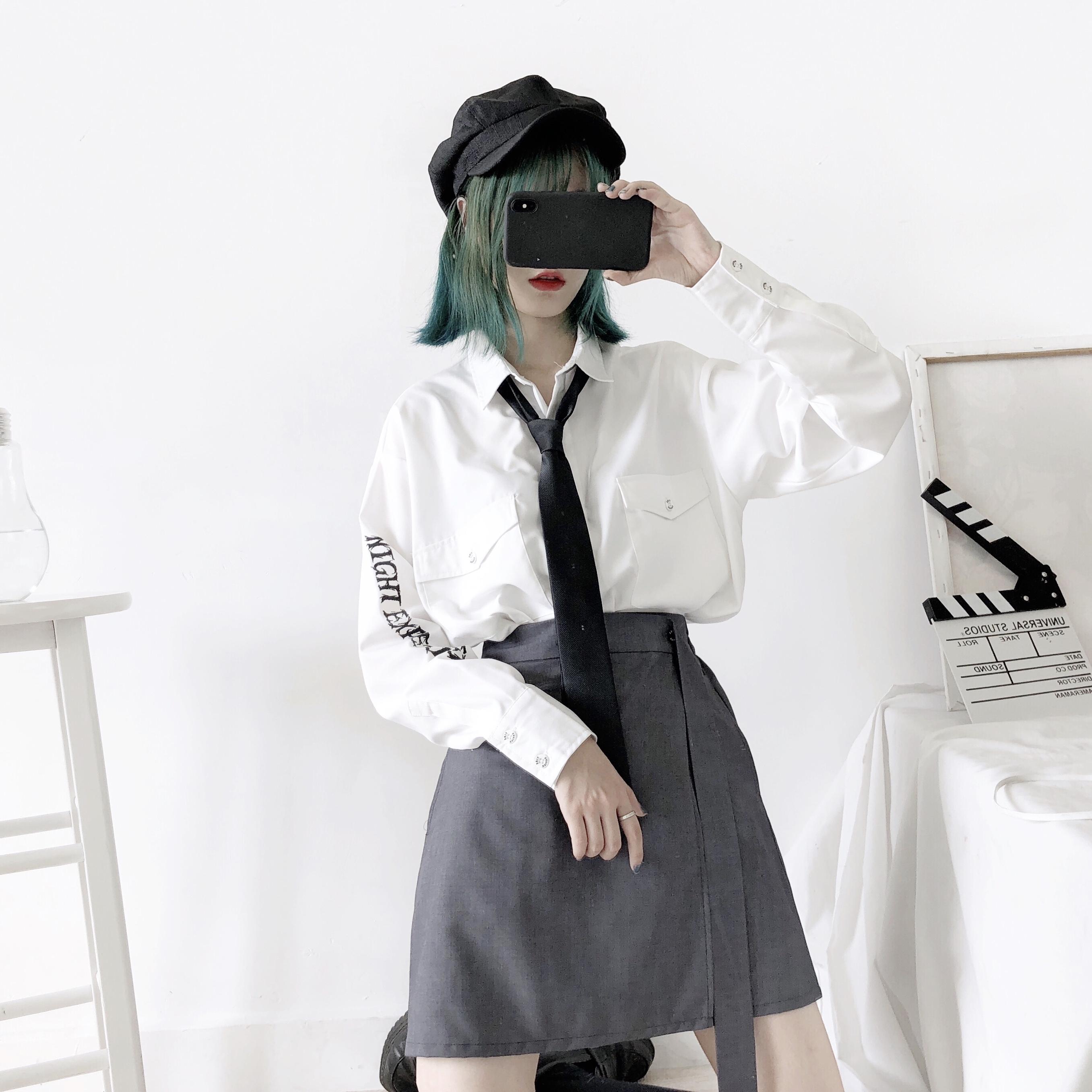 PINKSAVIOR夜间实验白灰两色印花特别设计款衬衫(领带赠送)