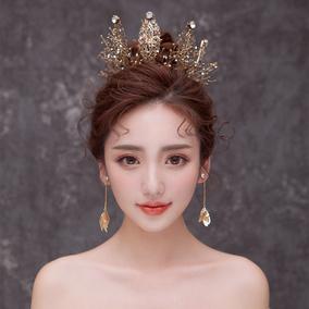 水舞 A3201新娘皇冠头饰2018新款婚纱晚宴女王黑色圆冠生日发饰品