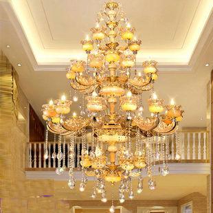 别墅复式楼大吊灯家用欧式客厅水晶灯美式现代餐厅简约卧室楼梯灯