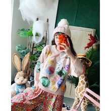 Jiacuicui's homemade sweater with adorable pink rabbit collar and knitted pullover