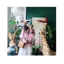 贾cuicui自制马卡龙粉色手工立体花朵摩天轮宽松套头复古毛衣
