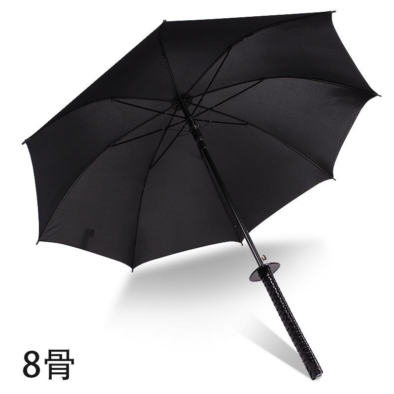 防身雨伞棍伞大男士男友长刀把男朋友创意自动武士晴雨刀柄黑色