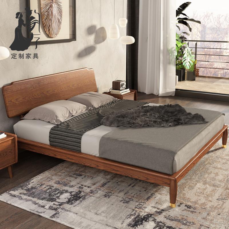 韵存新中式全实木床双人北欧现代简约白蜡木1.8米主卧室铜木婚床