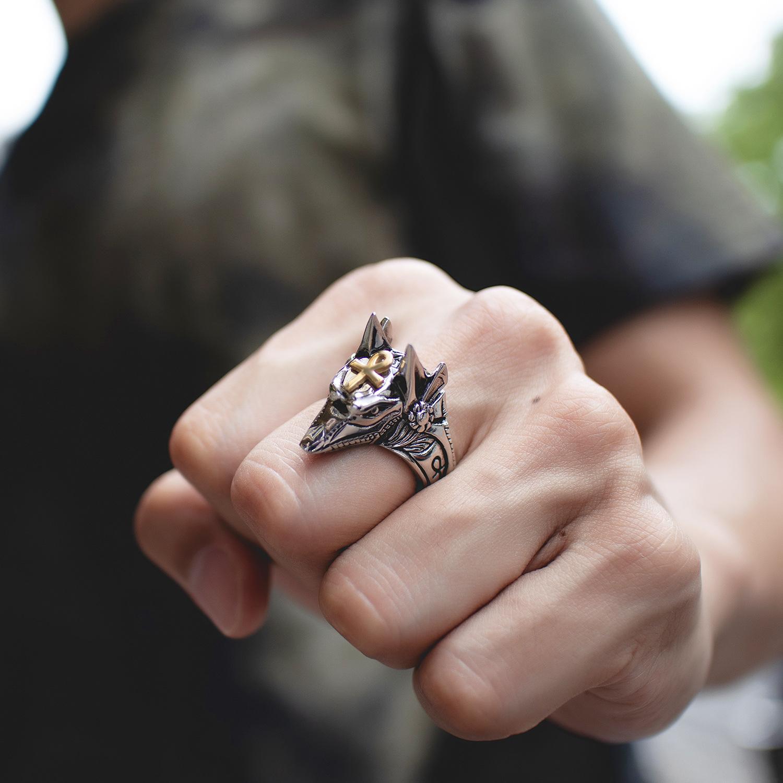 欧美霸气阿努比斯埃及十字架钛钢戒指 个性魔爪潮男指环手饰品