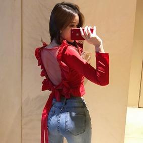 打底衫女秋2018新款潮气质chic性感露背显瘦红色荷叶潮长袖秋上衣