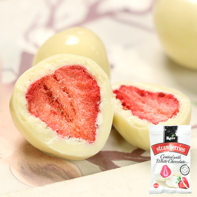 保加利亚进口零食 ROIS甜瑞丝芯草莓夹心酸奶白巧克力网红零食80g