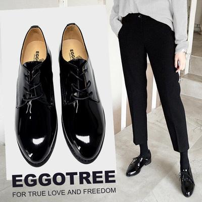 鸡蛋花树漆皮单鞋平底鞋粗跟工作女鞋黑色布洛克系带小皮鞋女英伦