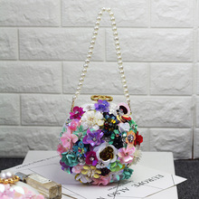 IFashion Summer 2019 New Hand-made Tide Lady's Dinner Bag with Stereo Flowers and Water Diamonds