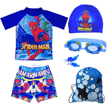 Boys'Swimming Trousers Split Suit Cartoon Superman Spider-Man Children's Swimming Suit Boys Bubble in Hot Springs