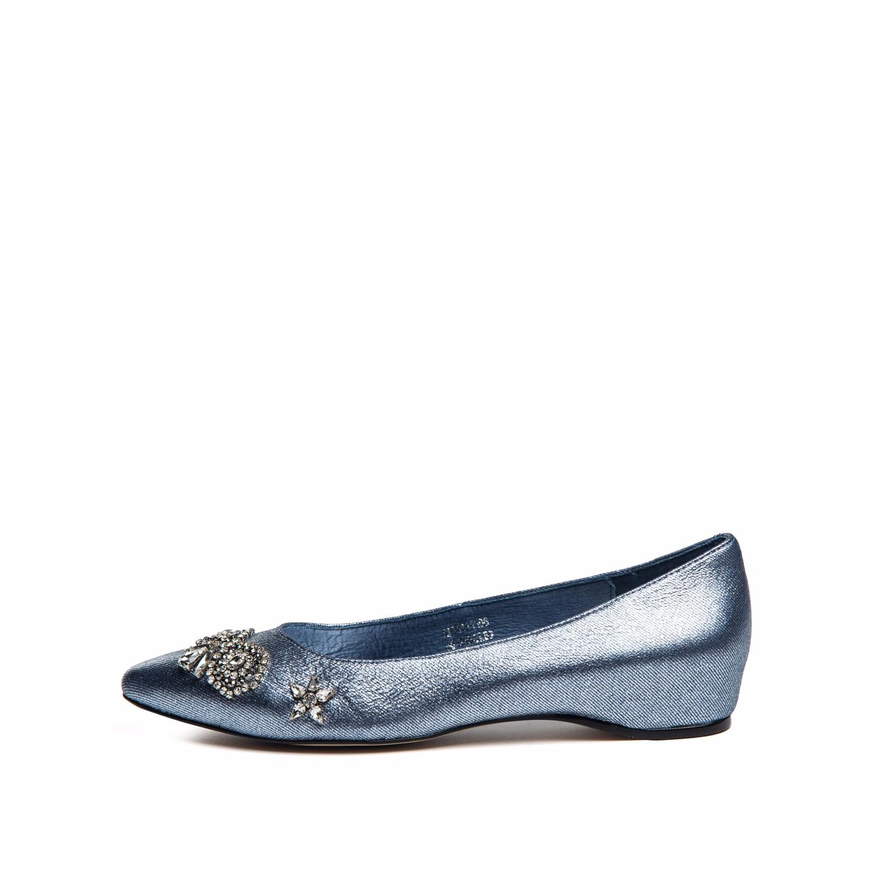 SS71111196 新款绒面羊皮尖头闪亮单鞋女休闲鞋 2017 星期六 Sat ; amp & St