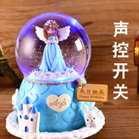Automatic Snow Crystal Ball Rotating Music Box Music Box Snowflake Children's Day Birthday Gift Girl Girl
