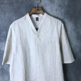 Chinese style men's linen short-sleeved casual tang suit v-neck loose cotton hemp vintage plus-size Chinese jacket summer