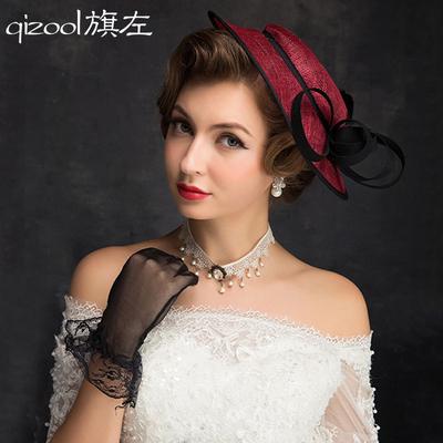 旗左 礼帽女 亚麻纱帽新娘礼帽英伦贵妇麻纱帽子头饰酒红色