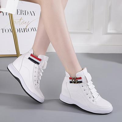 高帮内增高小白鞋女旅游休闲鞋显瘦坡跟韩版潮百搭鞋子女2018新款