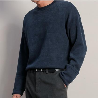 2018新款韩国正品圆领套头毛衣男宽松针织衫中青年线衣秋冬打底衫