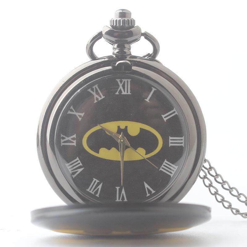 蝙蝠侠新款时尚新款男女怀表钨钢学生潮流黑挂链表经典礼物礼品表