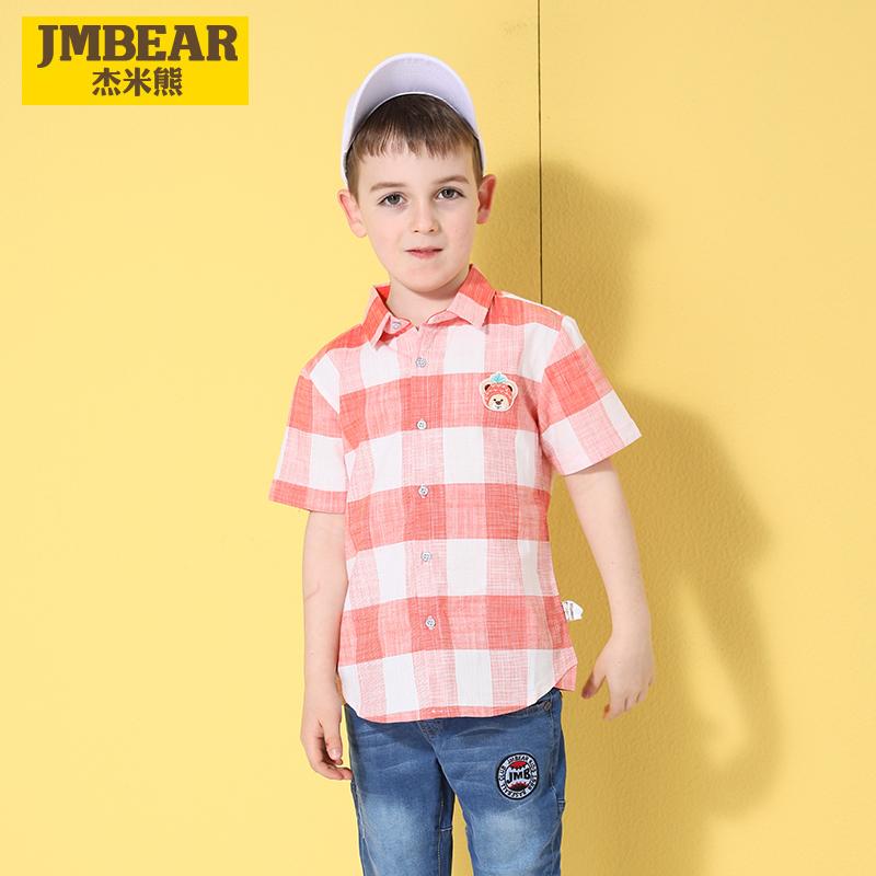 杰米熊童装男童衬衫2019夏季新款打底衫男小童格子短袖帅气衬衫潮