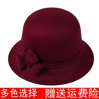 秋冬季女帽 圆顶礼帽毛呢女士盆帽时装帽子圆帽冬季女帽时装帽子