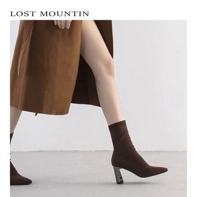 【孤山原创】袜靴女2018秋季欧美新款高跟尖头粗跟弹力针织女短靴