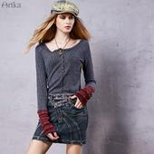 复古柔软方领弹力套头T恤多色ZA15559Q Artka阿卡波西米亚夏装
