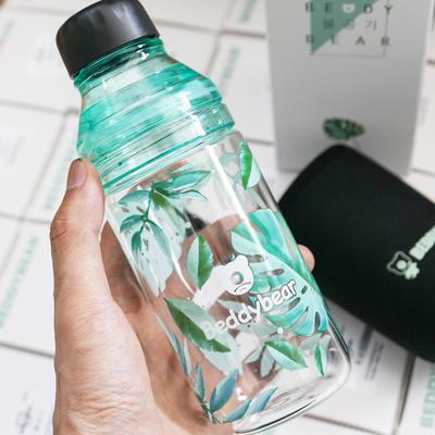 韩国杯具熊新款玻璃杯儿童水杯创意柠檬杯随手杯带盖家用便携男女
