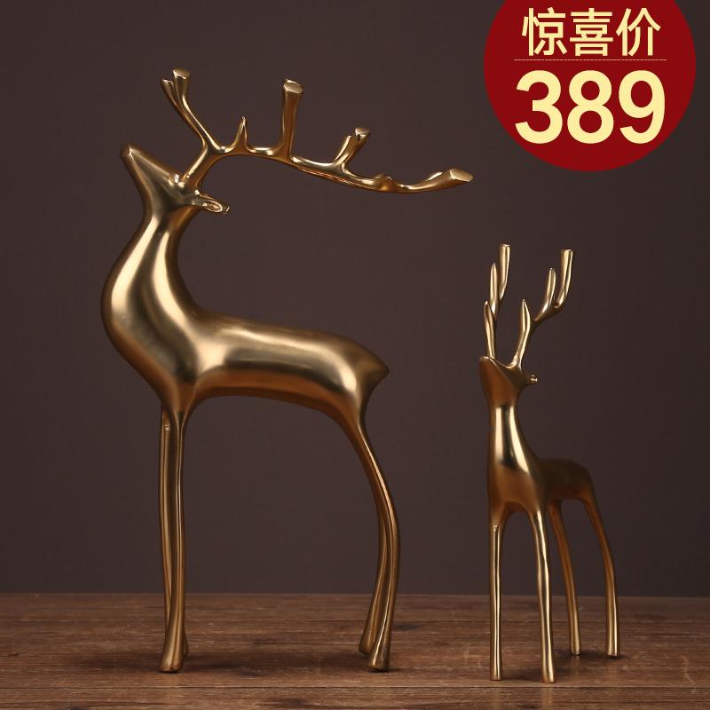 纯铜鹿摆件